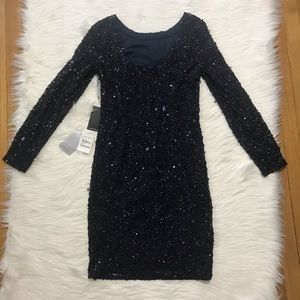 Adrianna Papell Dresses - Adrianna Pappell Navy Long Sleeve Cocktail Dress